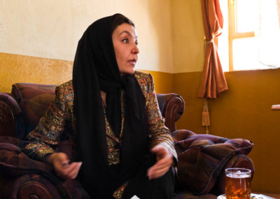 Shir Mohammadi, lawyer and director of the Dept. of Women's Affairs meets with members of the Afghan Women's Actress Guild to discuss legal matters.