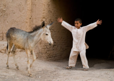 A boy plays with a donkey in his home village of Shakaban, a Turkmen village in Herat province established about 120 years ago.