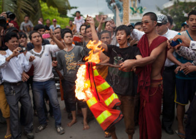 Monks and youths riot after a dispute at the polls in Phnom Penh's Stung Meanchey district.