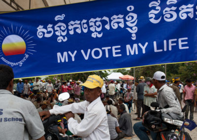 Supporters of the opposition party CNRP, attend a mass rally in Freedom Park to protest the election results.