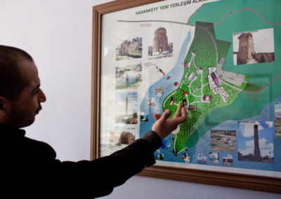 A state employee shows the monument park planned for relocation of the freestanding architectural elements at Hasankeyf.