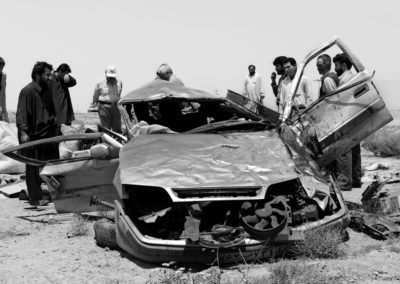 A crash en route to Bam, evidence of Iranians' precarious driving habits.