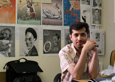 Hadi Heidari, Etemad e-Melli's premier political cartoonist. Etemad e-Melli is Mehdi Karoubi's reformist newspaper, which boldly criticizes the state.