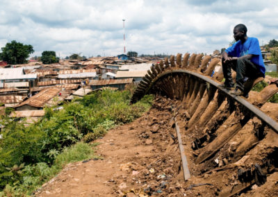 Residents of Kibera slum, Nirobi pulled up the railway leading to Uganda to protest stalls in the power-sharing deal between Mwai Kibaki and Raila Odinga.