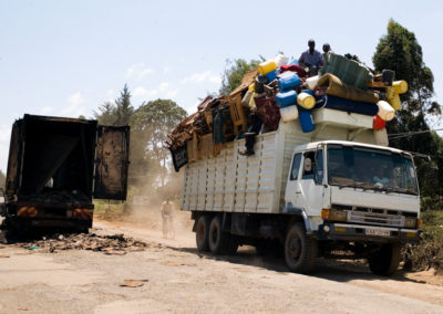 Luos drive along the road to Kisumu in Nyanza Province with the belongings they were able to gather after being run out of their homes.