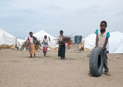 Kikuyu children displaced by the post-election violence gather firewood at Naivasha IDP camp.