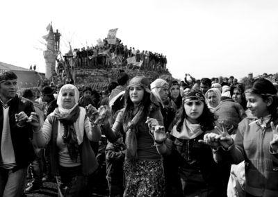 Kurdish people perform traditional dance to celebrate the Kurdish New year Newroz in Istanbul.